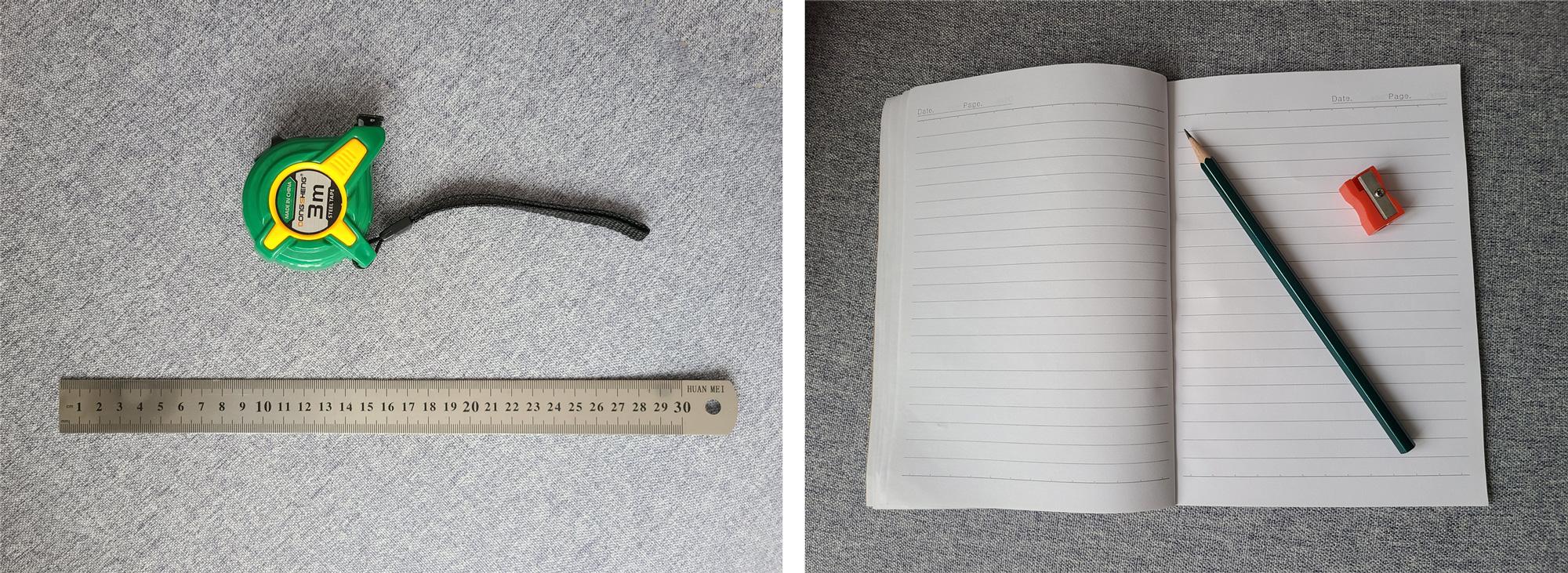 卷尺、钢尺、铅笔、卷笔刀和笔记本
